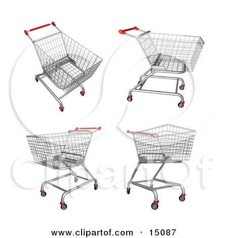 Four Metal Store Shopping Carts in 3D Clipart Graphic by 3poD
