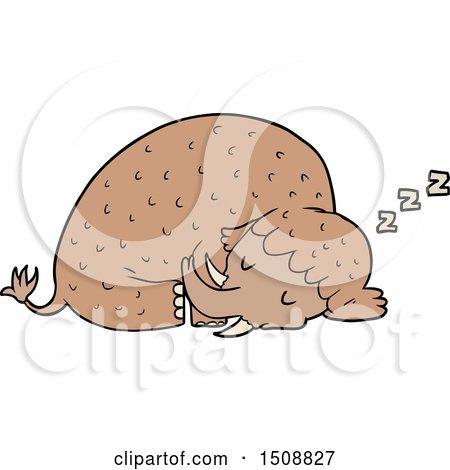 Cartoon Mammoth Sleeping by lineartestpilot