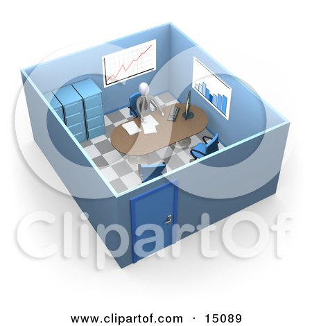 Busy Boss Or Manager Businessman In A Suit And Tie, Seated At A Desk And Doing Paperwork Inside His Private Office Suite With Filing Cabinets And Charts And Graphs On The Walls Clipart Graphic by 3poD