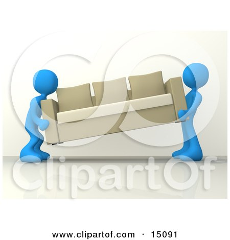 Two Blue Male Figures Lifting And Carrying Away A Tan Couch While Moving Posters, Art Prints
