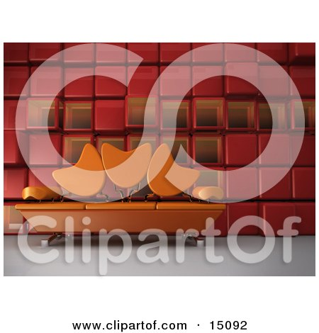 Modern Living Room Or Office Lobby Interior With An Orange Sofa With Tulip Shaped Back Rests And Chrome Poles Against A Red Cubic Wall Posters, Art Prints