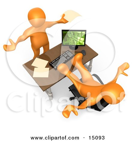 Flustered Orange Co-Worker Employee Holding Their Arms Up While Complaining To Their Lazy Boss Or Colleague While They Pick Up All The Slack Clipart Graphic by 3poD