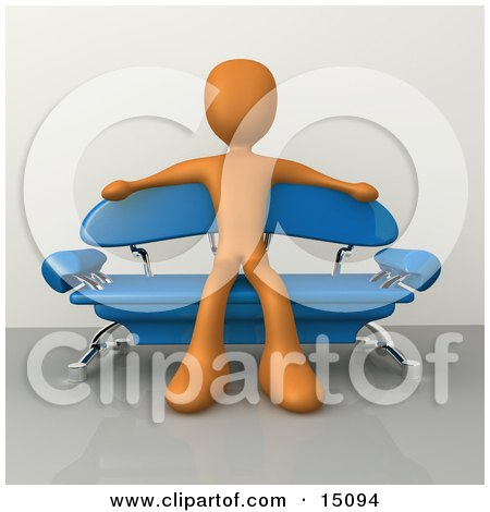 Orange Male Figure Sitting With His Arms Out On The Back Of A Modern Blue Sofa With Chrome Supports In A Living Room Or Waiting In An Office Lobby Posters, Art Prints