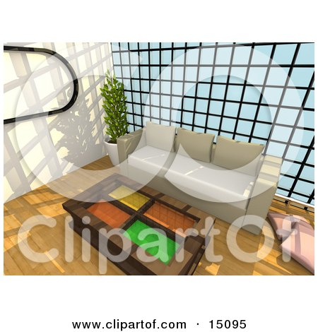 Wooden Table With Colorful Glass Inserts In Front Of A Beige Couch Against A Wall Of Windows In A Modern Living Room Or Office Lobby Posters, Art Prints