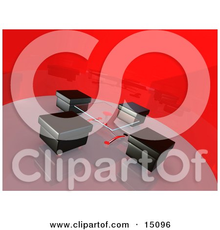 Glass Table And Four Square Black Leather Seats In A Circular Modern Conference Room With Freshly Waxed Reflective Floors And Red Shiny Walls Clipart Graphic by 3poD