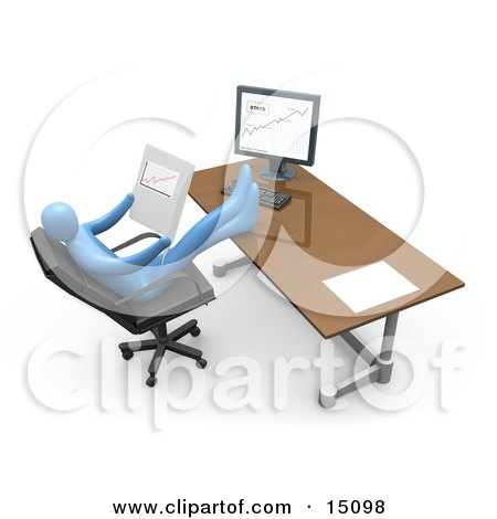 Relaxed Blue Business Person Seated In A Chair In Front Of A Computer, His Feet Crossed And Up On The Desk While Leaning Back And Looking At Graphs Showing An Increase In Sales Posters, Art Prints