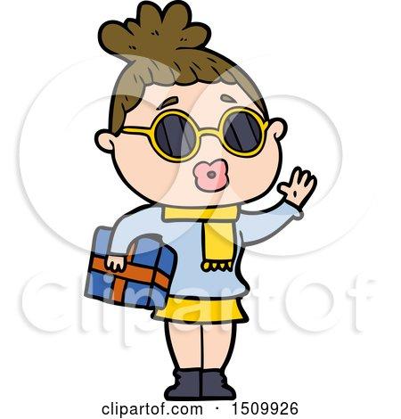 Cartoon Woman Wearing Sunglasses by lineartestpilot