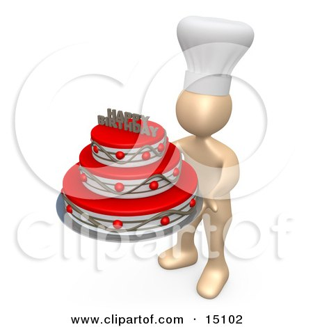 Baker Person Wearing A White Chefs Hat And Holding A Red And Silver Three Tiered Birthday Cake With A Happy Birthday Decoration On Top Clipart Graphic