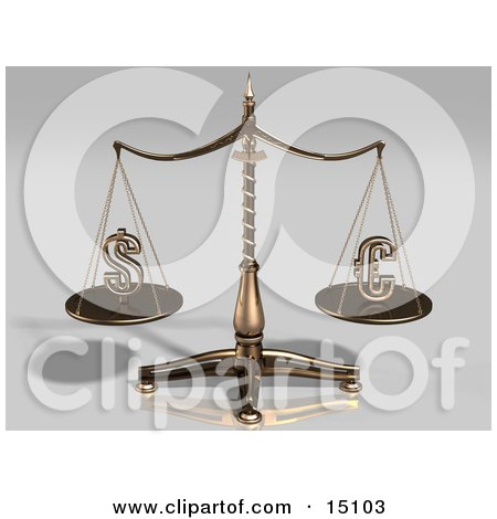 Brass Scales Weighing The American Dollar Sign And The Euro Sign, Balanced Evenly Clipart Illustration by Anastasiya Maksymenko