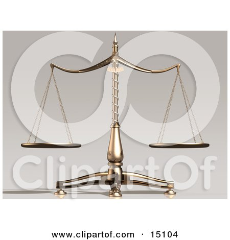 Balanced and Unbiased Brass Scales Weighing Out Evenly Clipart Illustration by Anastasiya Maksymenko