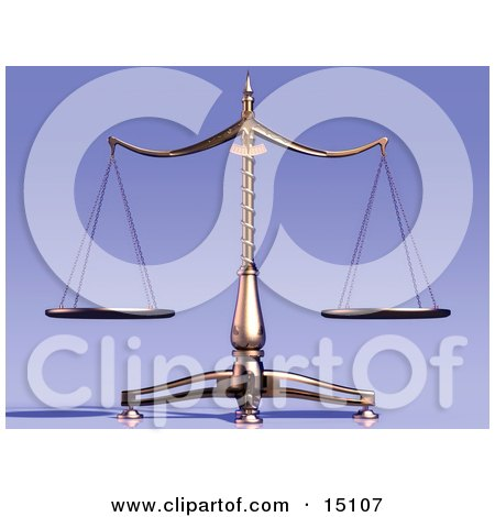 Equal Brass Scales of Justice Clipart Illustration by Anastasiya Maksymenko