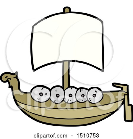 Cartoon Viking Boat by lineartestpilot