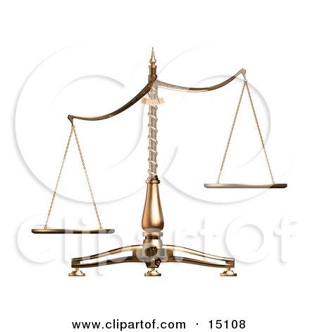 Brass Scales Of Justice Off Balance, Symbolizing Injustice, Over White Clipart Illustration by Anastasiya Maksymenko