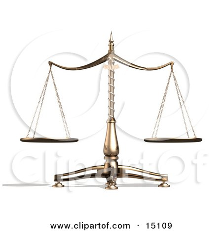 Brass Scales of Justice Balanced Evenly Over a White Background Clipart Illustration by Anastasiya Maksymenko