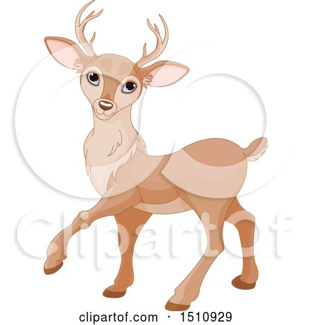 Clipart of a Cute Walking Deer - Royalty Free Vector Illustration by Pushkin