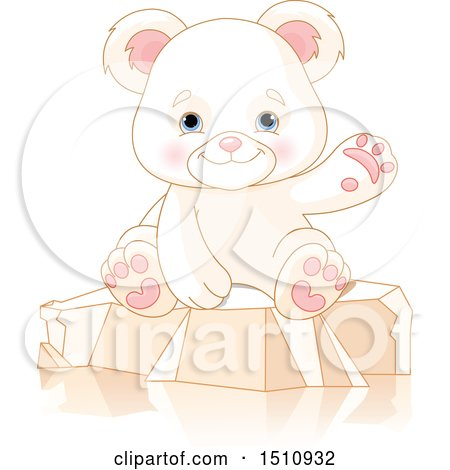 Cute Baby Polar Bear Cub Sitting and Waving Posters, Art Prints
