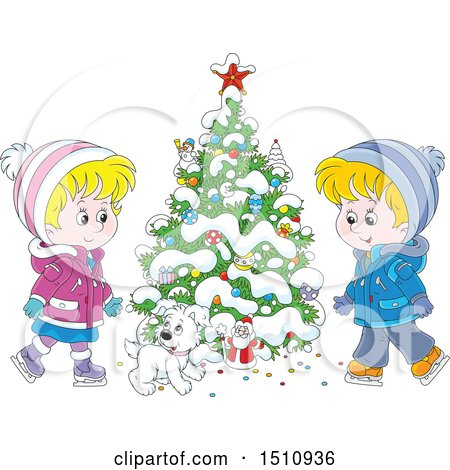 Clipart of a Cartoon Dog and Children Ice Skating by a Flocked Christmas Tree with a Tiny Santa - Royalty Free Vector Illustration by Alex Bannykh