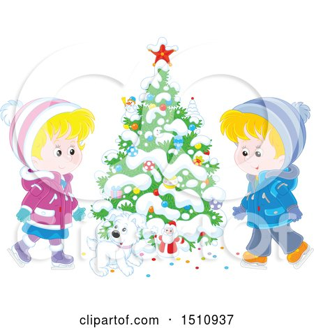 Clipart of a Puppy Dog and Children Ice Skating by a Flocked Christmas Tree with a Tiny Santa - Royalty Free Vector Illustration by Alex Bannykh