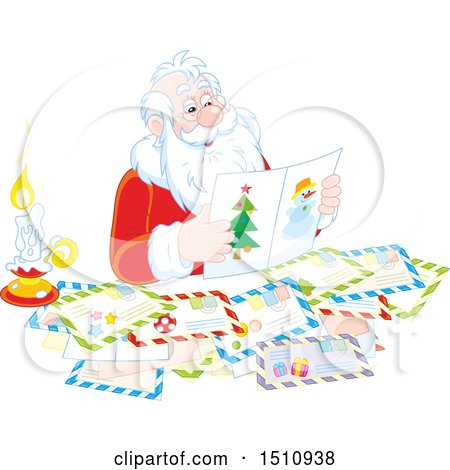 Clipart of a Christmas Santa Claus Reading Letters - Royalty Free Vector Illustration by Alex Bannykh