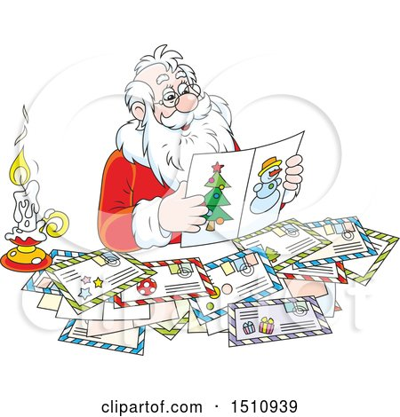 Clipart of a Cartoon Santa Claus Reading Christmas Letters - Royalty Free Vector Illustration by Alex Bannykh