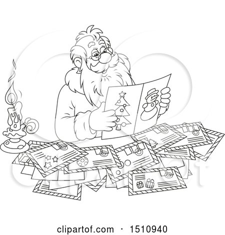Clipart of a Cartoon Black and White Santa Claus Reading Letters - Royalty Free Vector Illustration by Alex Bannykh