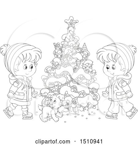 Clipart of a Black and White Puppy and Children Ice Skating by a Flocked Christmas Tree with a Tiny Santa - Royalty Free Vector Illustration by Alex Bannykh
