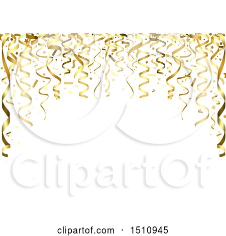 Clipart of a Retirement Anniversary Birthday or Christmas Party Background with Golden Ribbons - Royalty Free Vector Illustration by dero