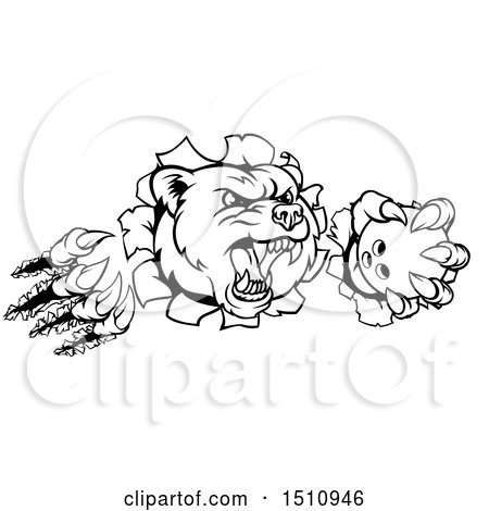 Clipart of a Black and White Vicious Aggressive Bear Mascot Slashing Through a Wall with a Bowling Ball in a Paw - Royalty Free Vector Illustration by AtStockIllustration