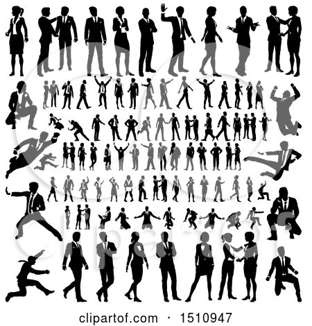 Clipart of Black and White Silhouetted Business Men and Women - Royalty Free Vector Illustration by AtStockIllustration