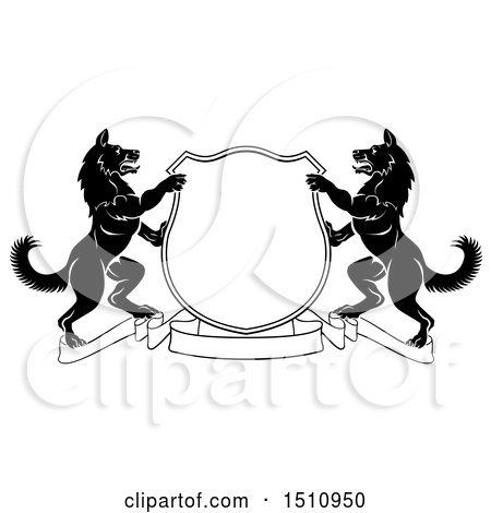 Clipart of a Black and White Alsatian Dog Coat of Arms Shield with a Collar - Royalty Free Vector Illustration by AtStockIllustration