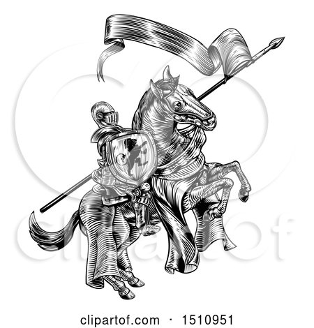 Clipart of a Black and White Etched or Woodcut Medieval Knight on a Horse, Holding a Flag and Shield - Royalty Free Vector Illustration by AtStockIllustration