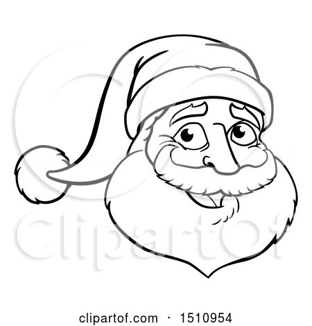 Clipart Of A Black And White Christmas Santa Claus Face
