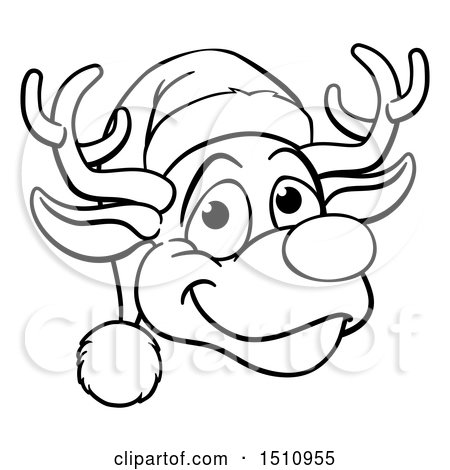 Clipart Of A Black And White Happy Reindeer Face Wearing Christmas Santa Hat