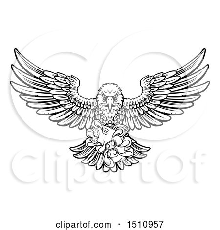 Clipart of a Black and White Swooping American Bald Eagle with a Video Game Controller in Its Claws - Royalty Free Vector Illustration by AtStockIllustration