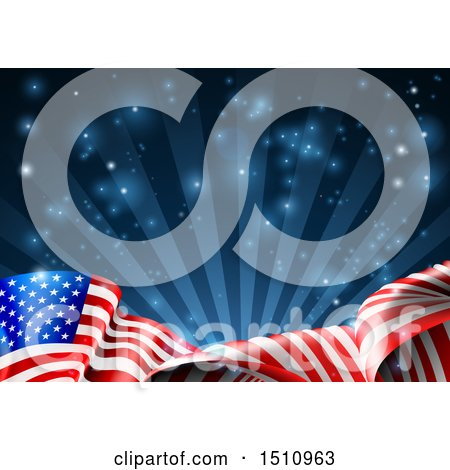 Clipart of a Rippling American Flag over Dark Blue Rays and Flares - Royalty Free Vector Illustration by AtStockIllustration