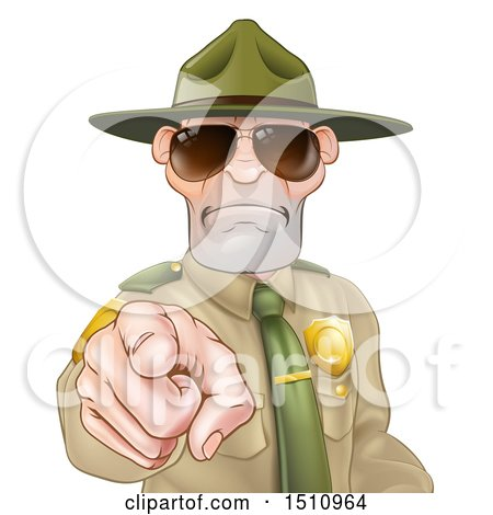 Clipart of a Tough White Male Drill Sergeant Pointing Outwards and Wearing Sunglasses - Royalty Free Vector Illustration by AtStockIllustration