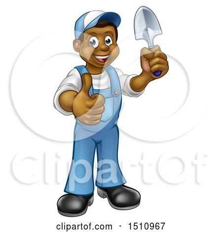 Clipart of a Full Length Happy Black Male Gardener in Blue, Holding a Garden Trowel and Giving a Thumb up - Royalty Free Vector Illustration by AtStockIllustration
