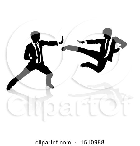 Clipart of Silhouetted Business Men Kung Fu Fighting - Royalty Free Vector Illustration by AtStockIllustration