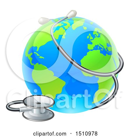 Clipart of a 3d World Earth Globe with a Stethoscope - Royalty Free Vector Illustration by AtStockIllustration