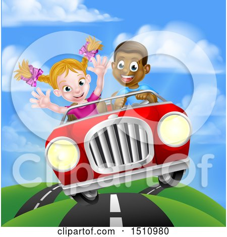 Clipart of a Happy Black Boy Driving a Red Convertible Car and a White Girl Holding Her Arms up in the Passenger Seat As They Catch Air - Royalty Free Vector Illustration by AtStockIllustration