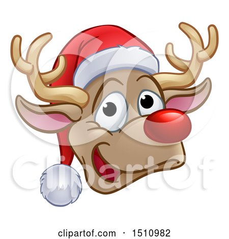 Clipart Of A Happy Red Nosed Reindeer Face Wearing Christmas Santa Hat