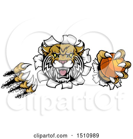 Clipart of a Vicious Wildcat Mascot Shredding Through a Wall with a Basketball - Royalty Free Vector Illustration by AtStockIllustration