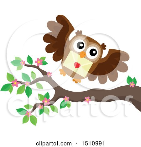 Clipart of a Valentine Owl Flying with a Love Letter - Royalty Free Vector Illustration by visekart