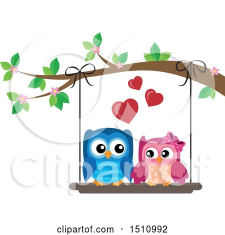 Clipart of a Cute Owl Couple on a Swing - Royalty Free Vector Illustration by visekart