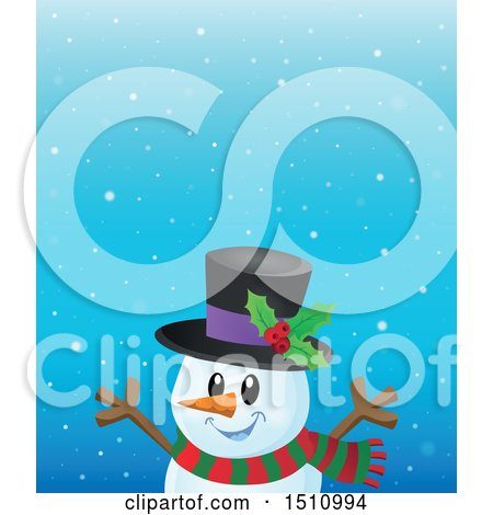 Clipart of a Happy Snowman in the Snow - Royalty Free Vector Illustration by visekart