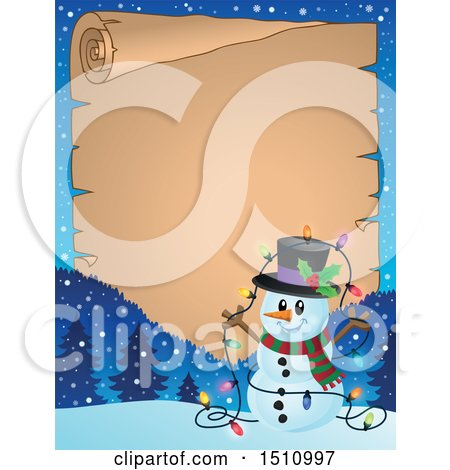 Clipart of a Parchment Scroll and Border of a Happy Snowman with a Strand of Colorful Christmas Lights - Royalty Free Vector Illustration by visekart