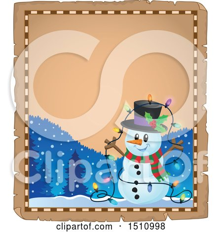 Clipart of a Parchment Page and Border of a Happy Snowman with a Strand of Colorful Christmas Lights - Royalty Free Vector Illustration by visekart