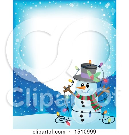 Clipart of a Border of a Happy Snowman with a Strand of Colorful Christmas Lights - Royalty Free Vector Illustration by visekart