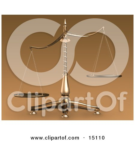 Brass Scales Of Justice Off Balance, Symbolizing Injustice Clipart Illustration by Anastasiya Maksymenko