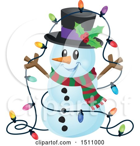 Clipart of a Happy Snowman with a Strand of Colorful Christmas Lights - Royalty Free Vector Illustration by visekart